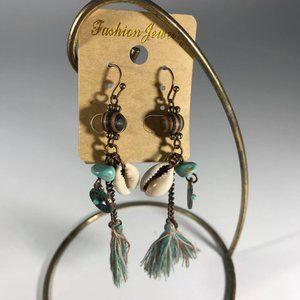 "Earrings  2.5"" Drop Beads & Threads Aqua, Copper"